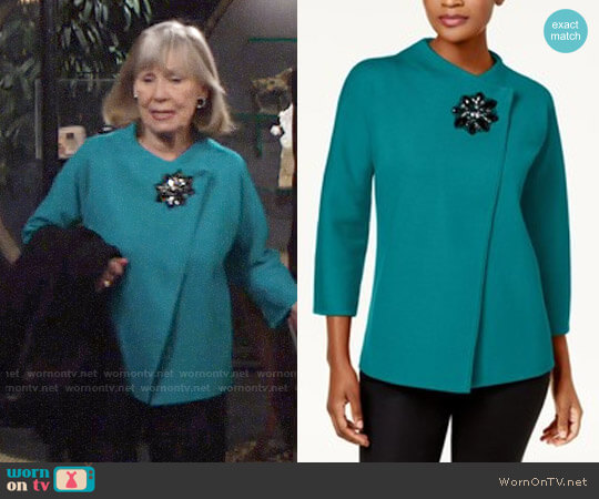 JM Collection Asymmetrical Embellished Cardigan worn by Dina Mergeron (Marla Adams) on The Young & the Restless
