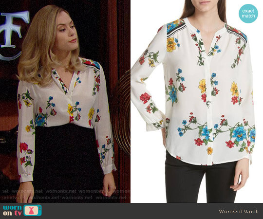 Joie Yaritza B Floral Silk Top worn by Annika Noelle on The Bold & the Beautiful