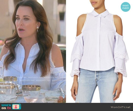 Cold Shoulder Stripe Top by Jonathan Simkhai worn by Kyle Richards  on The Real Housewives of Beverly Hills