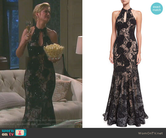 Floral Embellished Sleeveless Halter Evening Gown by Jovani worn by Kassie DePaiva on Days of our Lives