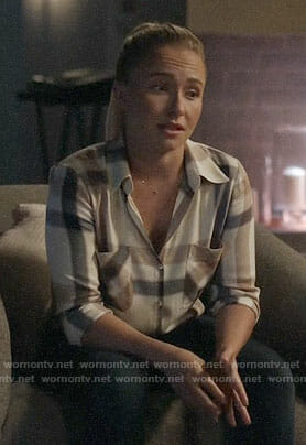 Juliette's checked button down shirt on Nashville