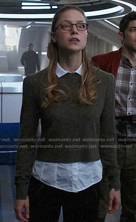 Kara's grey layered sweater on Supergirl