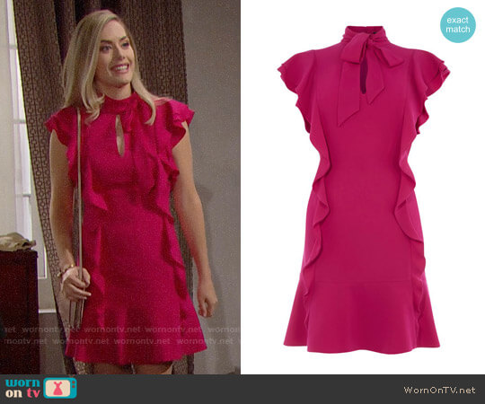 Karen Millen Ruffled Mini Dress worn by Hope Logan (Annika Noelle) on The Bold & the Beautiful