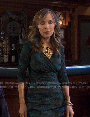 Kate's green printed wrap dress on Days of our Lives