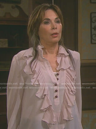 Kate's pink ruffled blouse on Days of our Lives