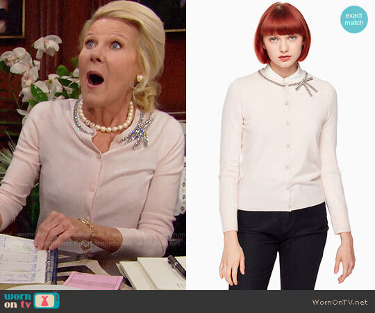 Kate Spade Embellished Bow Cardigan worn by Alley Mills on The Bold & the Beautiful