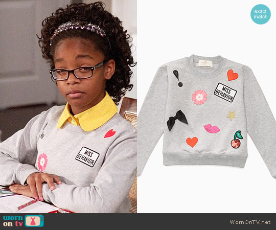 Kate Spade Miss Behavior Sweatshirt worn by Diane Johnson (Marsai Martin) on Blackish
