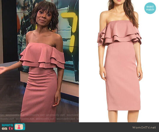 No Reason Off the Shoulder Sheath Dress by Keepsake worn by Zuri Hall  on E! News