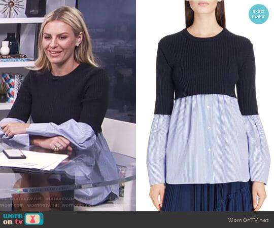 Knit Overlay Cotton Blouse by Kenzo worn by Morgan Stewart on E! News