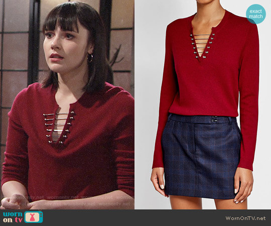 The Kooples Embellished Wool Pullover worn by Cait Fairbanks on The Young & the Restless