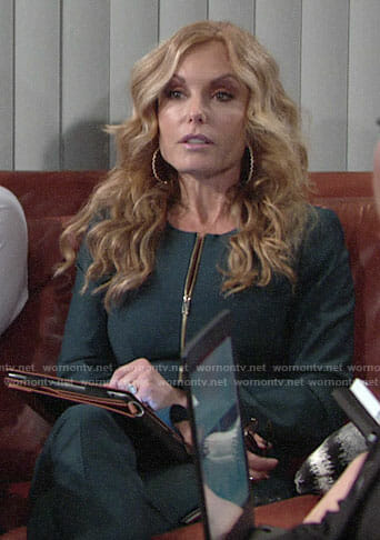 Lauren's green zip front jacket on The Young and the Restless
