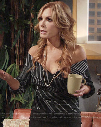 Lauren's black striped off-shoulder top on The Young and the Restless