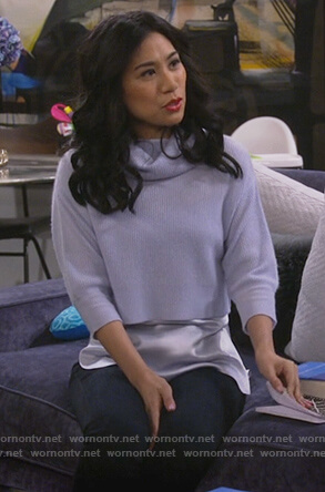Eve's blue layered turtleneck sweater on 9JKL