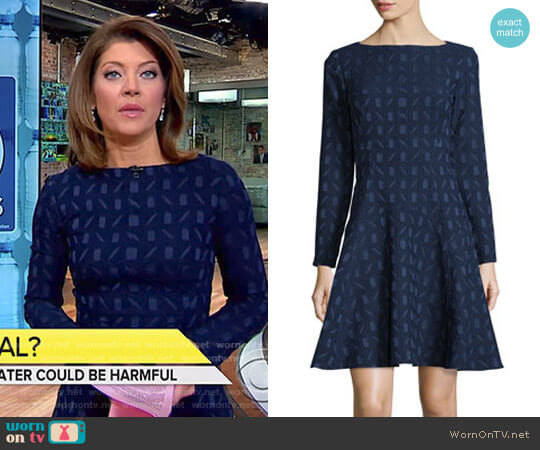 Geometric-Jacquard Long-Sleeve Dress by Lela Rose worn by Norah O'Donnell  on CBS This Morning