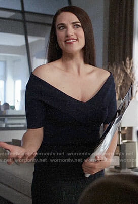Lena's navy off-shoulder top on Supergirl