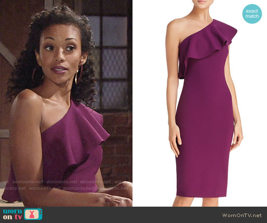 Likely Wilshire Dress in Electric Plum worn by Hilary Curtis (Mishael Morgan) on The Young & the Restless