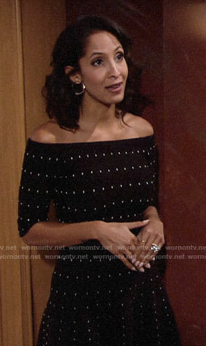 Lily's black dotted off-shoulder dress on The Young and the Restless