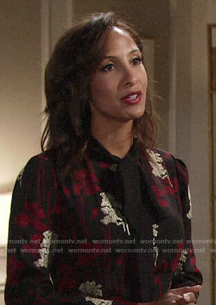 Lily's black and red floral dress on The Young and the Restless