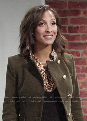 Lily's green velvet military jacket on The Young and the Restless