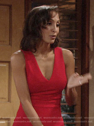 Lily's red v-neck dress with side cutouts on The Young and the Restless