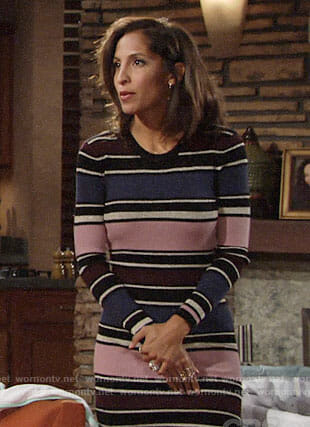 Lily's striped midi dress on The Young and the Restless
