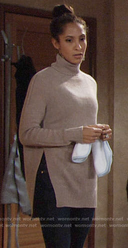 Lily's turtleneck sweater with side splits on The Young and the Restless