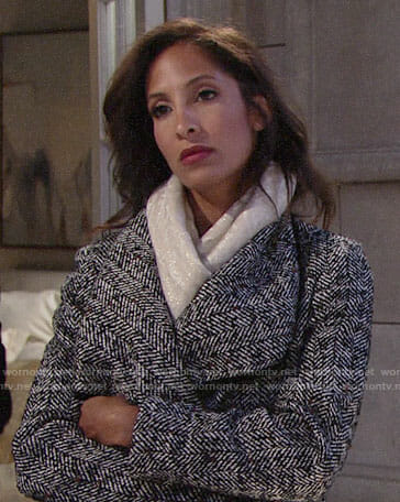 Lily's herringbone coat on The Young and the Restless