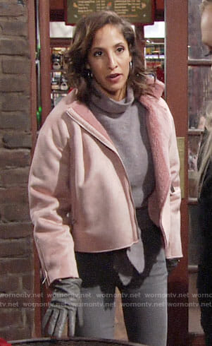 Lily's pink fleece lined jacket on The Young and the Restless
