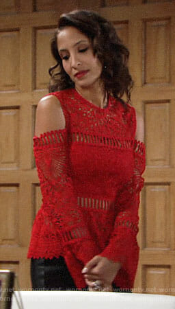 Lily's red lace cold-shoulder top on The Young and the Restless