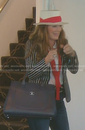 Lisa's black striped jacket with crest patch on The Real Housewives of Beverly Hills