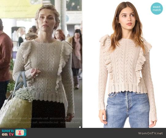 LOVESHACKFANCY Ruffle Pullover worn by Scarlett O'Connor (Clare Bowen) on Nashville