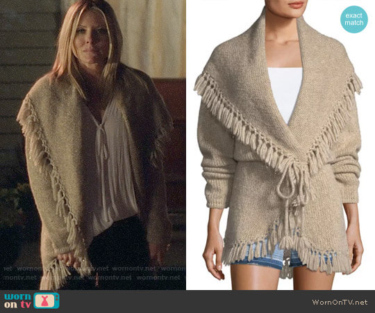 LOVESHACKFANCY Tassel Cable-Knit Shawl Sweater worn by Kaitlin Doubleday on Nashville