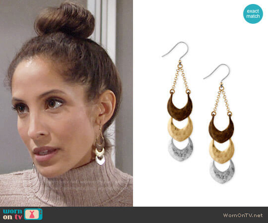 Lucky Brand Tri-Tone Triple Drop Earring worn by Christel Khalil on The Young & the Restless