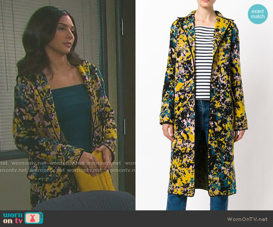 Ink Splatter Print Coat by M Missoni worn by Camila Banus on Days of our Lives