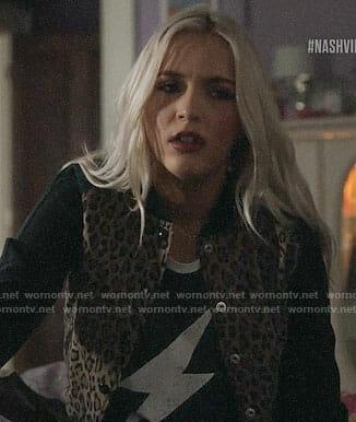 Maddie's leopard print bomber jacket on Nashville