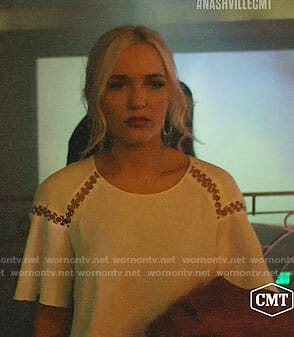 Maddie's white ring detail top on Nashville