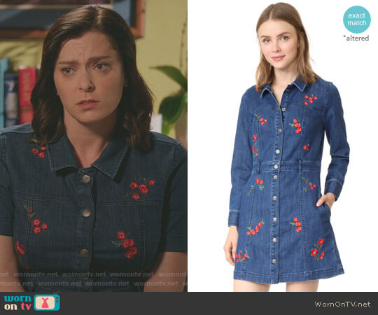 Denim Snap Front Dress by Madewell worn by Rachel Bloom on Crazy Ex-Girlfriend