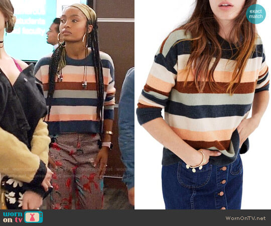 Madewell Elmwood Stripe Pullover Sweater worn by Yara Shahidi on Grown-ish