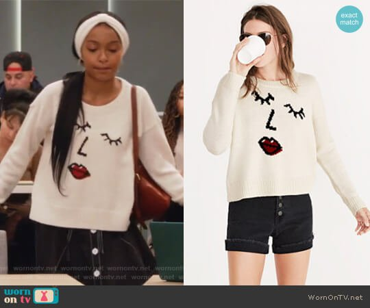 Making Faces Pullover Sweater by Madewell worn by Zoey Johnson (Yara Shahidi) on Grown-ish