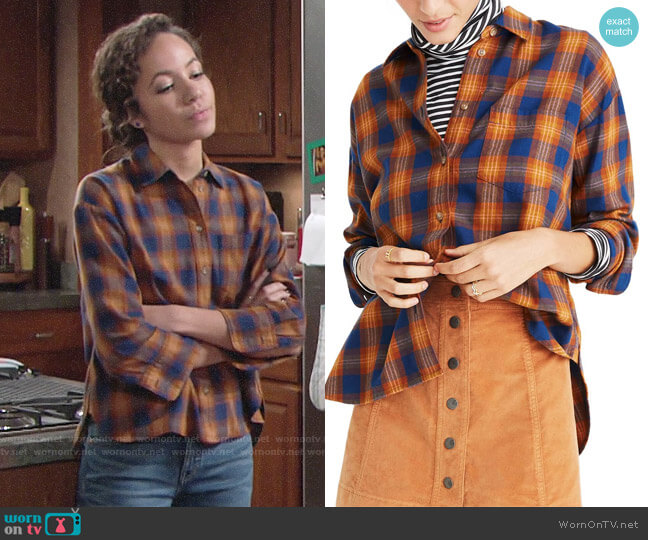 Madewell Westward Ardan Plaid Shirt worn by Mattie Ashby (Lexie Stevenson) on The Young & the Restless