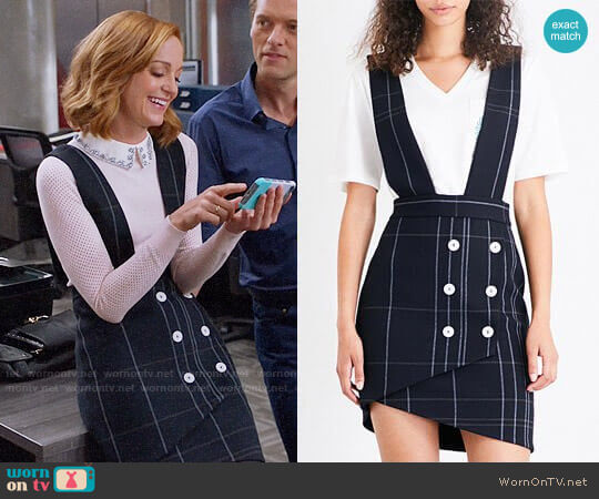 'Jola' Gabardine Pinafore Dress by Maje worn by Jayma Mays on Great News