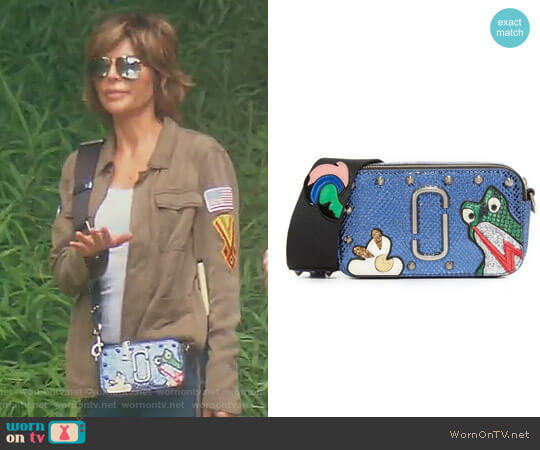 Frog Snapshot Small Camera Bag by Marc Jacobs worn by Lisa Rinna  on The Real Housewives of Beverly Hills