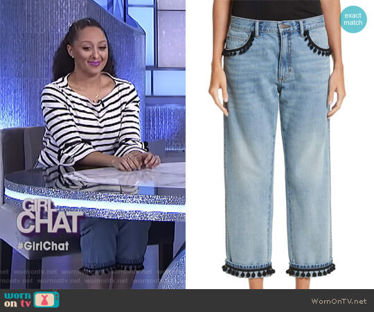 Pom Trim Crop Jeans by Marc Jacobs worn by Tamera Mowry  on The Real