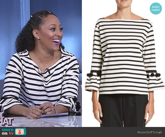 Pompom Stripe Tee by Marc Jacobs worn by Tamera Mowry  on The Real
