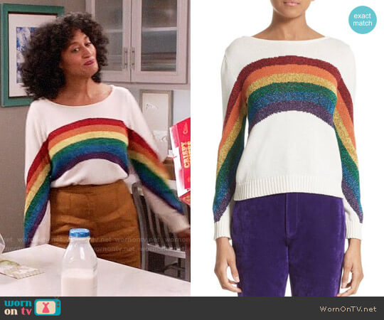 Marc Jacobs Rainbow Cotton Blend Sweater worn by Rainbow Johnson (Tracee Ellis Ross) on Blackish