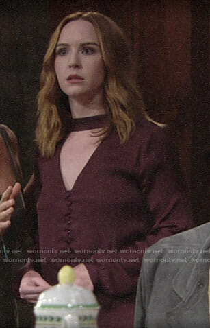 Mariah's burgundy choker blouse on The Young and the Restless