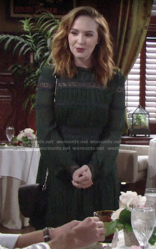 Mariah's green long sleeved dress with lace inset on The Young and the Restless