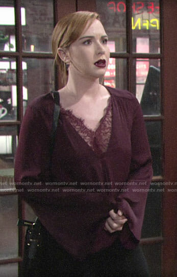 Mariah's burgundy lace trim blouse on The Young and the Restless