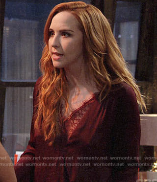 Mariah's red lace trim blouse on The Young and the Restless