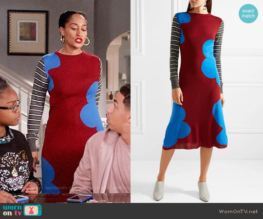 Marni Printed ribbed wool midi dress worn by Tracee Ellis Ross on Blackish